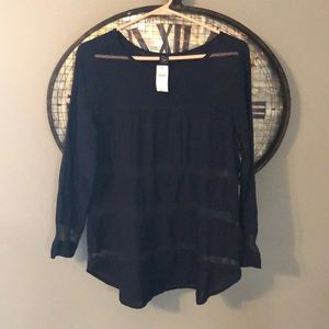 New with tags Gap Small Navy Blouse w/ Mesh Panels